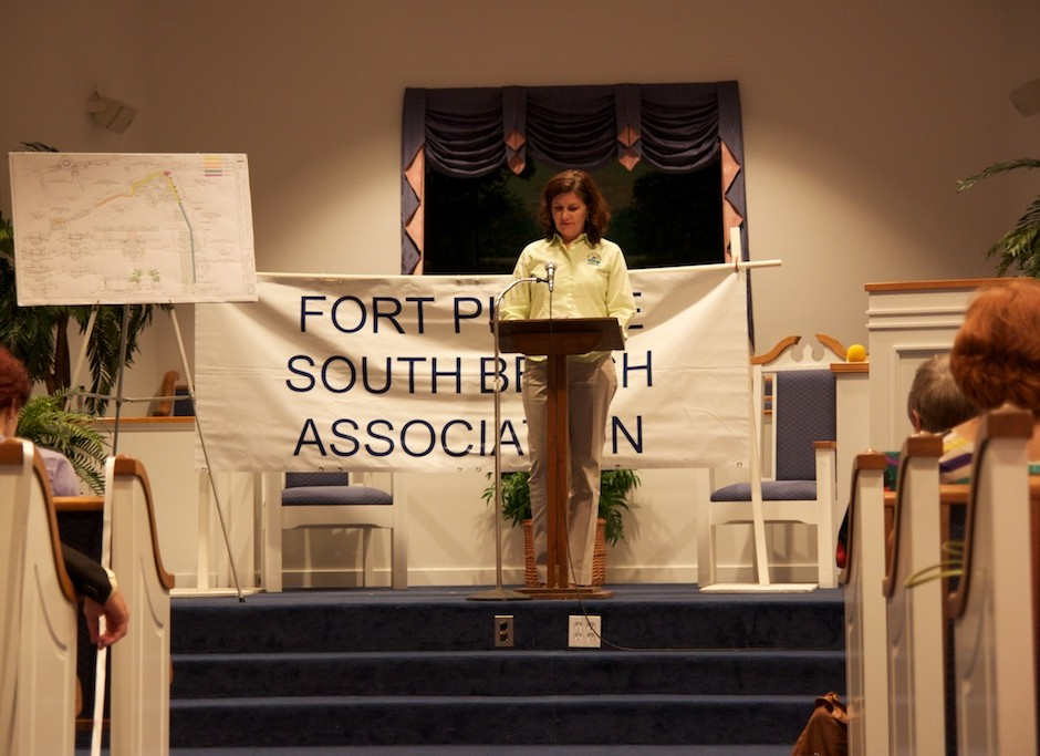 Tracy Telle presenting information about the A1A project.