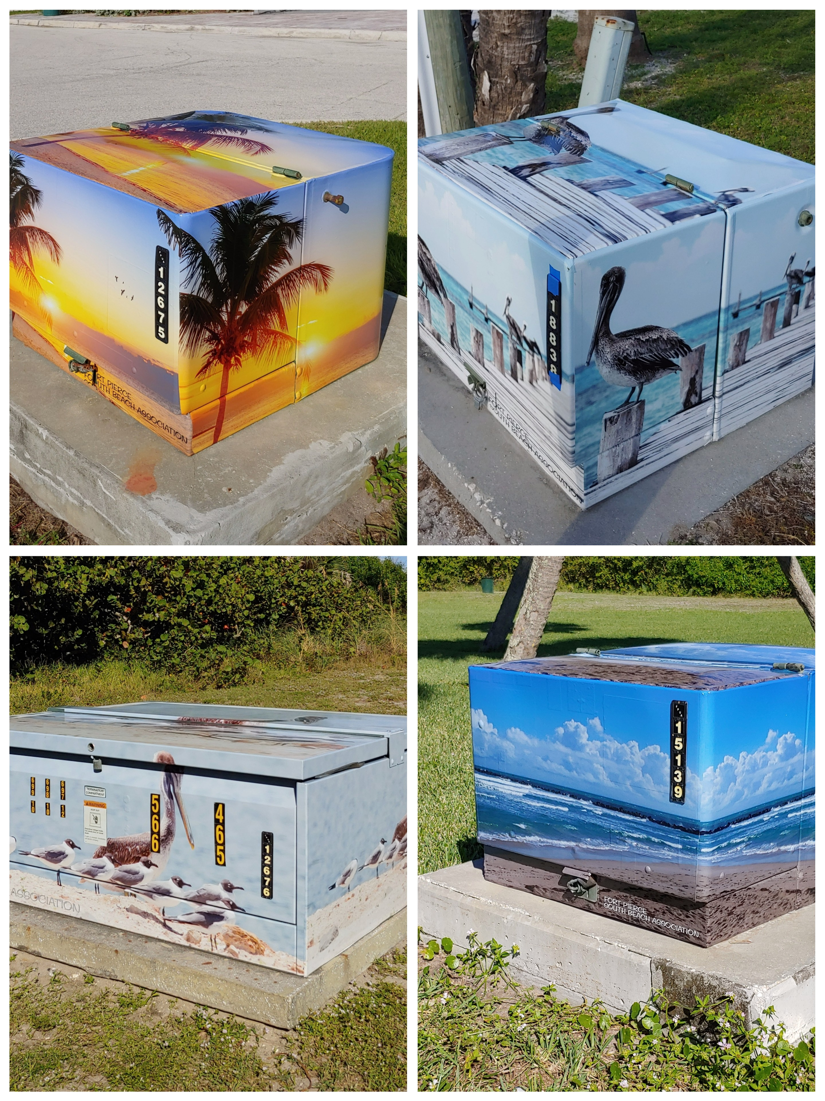 Wrapped electrical boxes at selected parks
