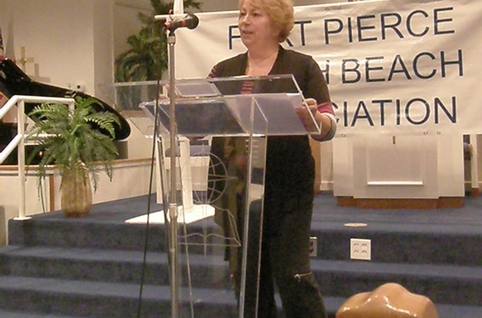 Christine Coke presents the Islander Award to the Fort Pierce Public Works Dept.